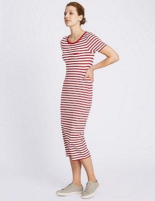 Round Neck Striped Midi Dress, RED MIX, catlanding