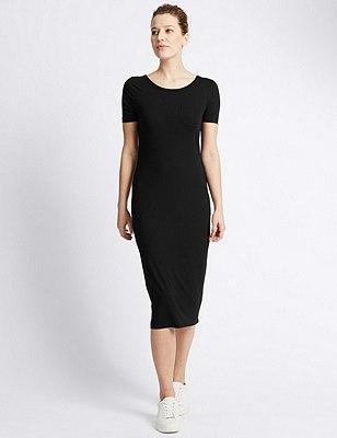 Pull On Midi Dress, BLACK, catlanding