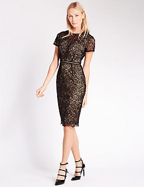 All Over Lace Lined Bodycon Dress, BLACK MIX, catlanding
