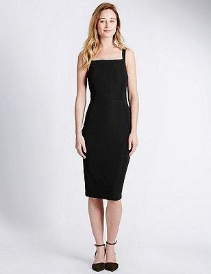 Mesh Panel Bodycon Dress, BLACK, catlanding