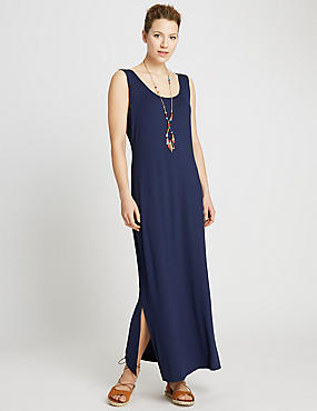 Scoop Neck Maxi Dress, NAVY, catlanding