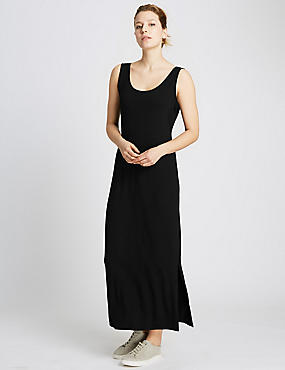 Scoop Neck Maxi Dress, BLACK, catlanding
