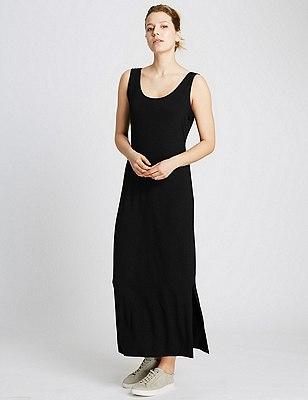 Scoop Neck Maxi Dress, BLACK, catlanding