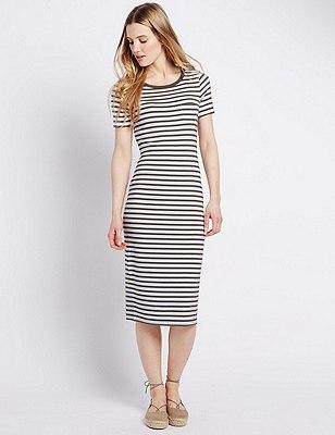 PETITE Striped Maxi Dress, KHAKI MIX, catlanding