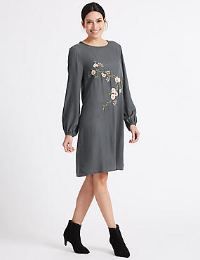 Embroidered Balloon Sleeve Tunic Dress, GREY, catlanding