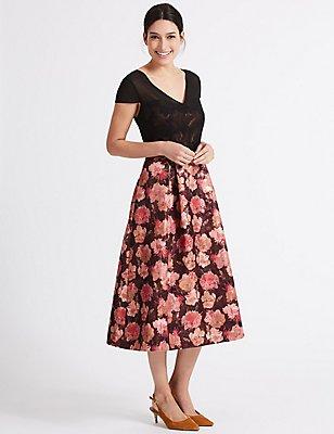 Floral Jacquard Short Sleeve Prom Midi Dress, BLACK MIX, catlanding