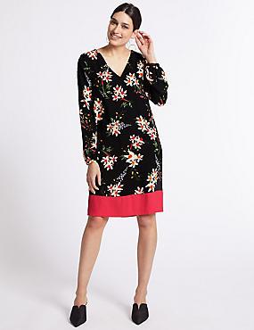 Floral Print Contrast Hem Tunic Dress, BLACK MIX, catlanding