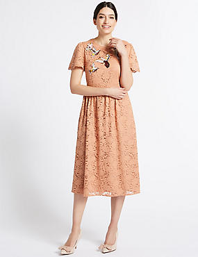 Bird Embroidered Lace Shift Midi Dress, PINK, catlanding
