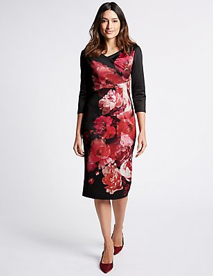 Floral Print Scuba Bodycon Midi Dress, BLACK MIX, catlanding