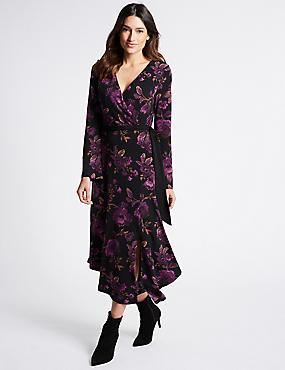 Floral Print Long Sleeve Wrap Midi Dress, BLACK MIX, catlanding