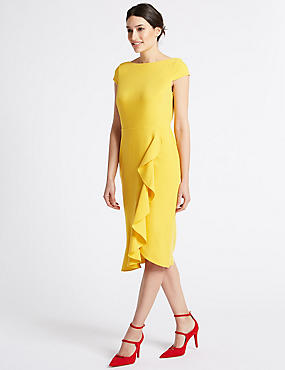 Asymmetric Short Sleeve Bodycon Midi Dress, SAFFRON, catlanding