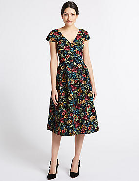 Jacquard Short Sleeve Skater Midi Dress , MULTI, catlanding