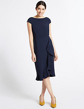 Asymmetric Short Sleeve Bodycon Midi Dress, NAVY, catlanding