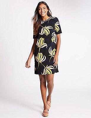 Floral Print Short Sleeve Tunic Dress, NAVY MIX, catlanding