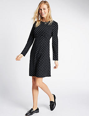 Spotted Long Sleeve Skater Dress, NAVY MIX, catlanding