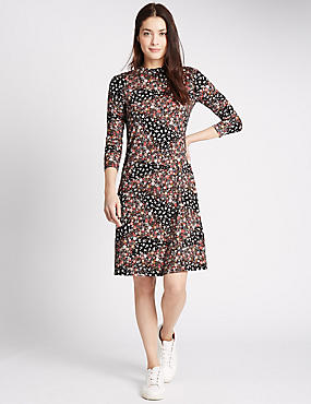 Floral Print Long Sleeve Swing Dress, PINK MIX, catlanding