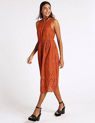 Pure Cotton Broderie Shift Dress, RUST, catlanding