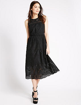 Pure Cotton Broderie Shift Dress, BLACK, catlanding