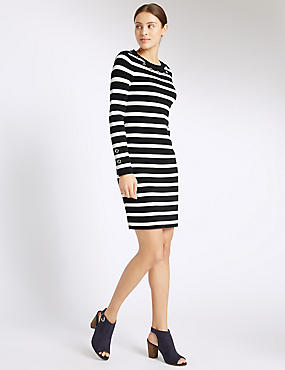 Pure Cotton Striped Long Sleeve Tunic Dress, NAVY MIX, catlanding
