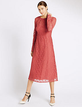 Lace Lined Long Sleeve Shift Dress, CINNAMON BLUSH, catlanding