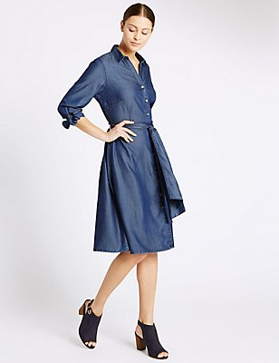 Tie Cuff 3/4 Sleeve Shirt Dress, INDIGO, catlanding