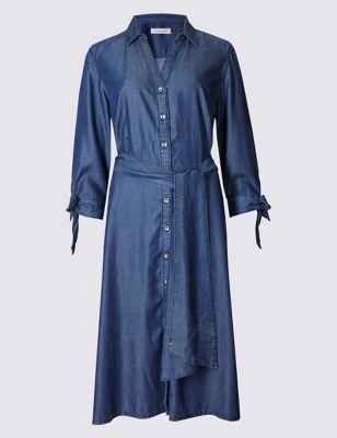 Платье-рубашка с широким поясом из лиоцелла Per Una T423139
