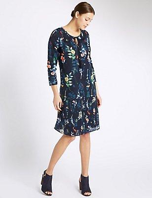 Floral Print Long Sleeve Dress, NAVY MIX, catlanding