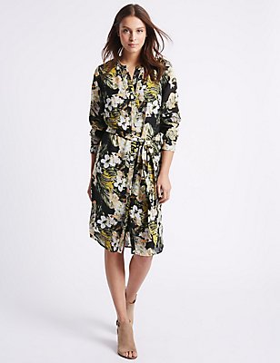 Floral Print Studded Shirt Dress with Belt, MULTI, catlanding