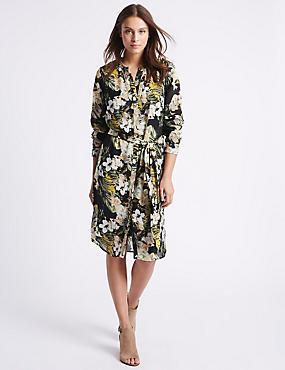 Floral Print Studded Shirt Dress with Belt, MULTI, catlanding