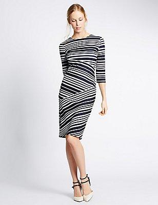 Striped 3/4 Sleeve Bodycon Dress, NAVY MIX, catlanding