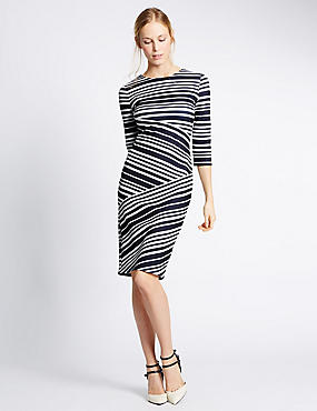 Striped 3/4 Sleeve Bodycon Dress, NAVY MIX, catlanding