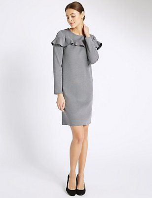 Striped Frill Fuller Bust Shift Dress, GREY MIX, catlanding