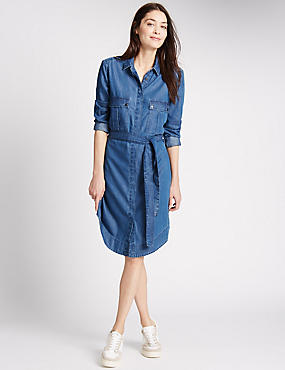 PETITE Long Sleeve Denim Shirt Dress, DENIM, catlanding