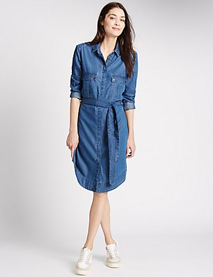 Robe chemise en jean à manches longues avec ceinture, DENIM, catlanding