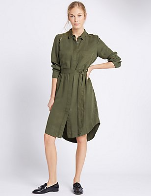 Long Sleeve Shirt Dress, KHAKI, catlanding