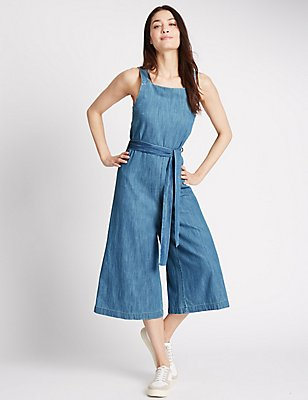 Pure Cotton Strap Jumpsuit, DENIM, catlanding