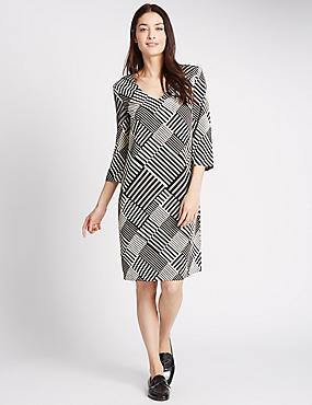 Striped 3/4 Sleeve Fuller Bust Tunic Dress, BLACK MIX, catlanding