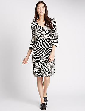 Striped 3/4 Sleeve Tunic Dress, BLACK MIX, catlanding