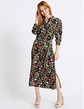 PETITE Floral Print Long Sleeve Shirt Dress, BLACK MIX, catlanding
