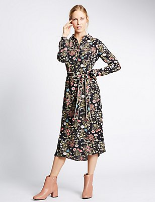 Floral Print Shirt Dress, BLACK MIX, catlanding