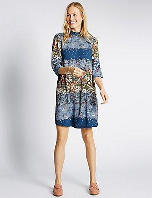 Ditsy Floral Print ¾ Sleeve Swing Dress, BLUE MIX, catlanding