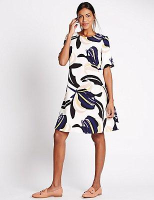 Floral Print Half Sleeve Swing Dress, IVORY MIX, catlanding