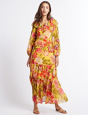 Floral Print Long Sleeve Maxi Dress, YELLOW MIX, catlanding