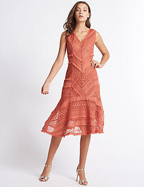 Clipped Lace Midi Dress, COPPER ROSE, catlanding