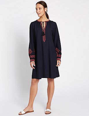 Embroidered Long Sleeve Tunic Dress, NAVY MIX, catlanding