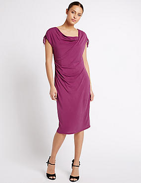 Modal Rich Drape Bodycon Dress, MAGENTA, catlanding