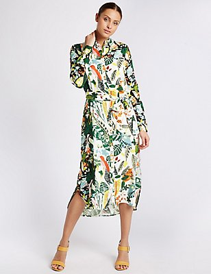 Printed Long Sleeve Shirt Dress, MULTI, catlanding