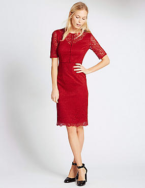 Half Sleeve Lace Bodycon Dress, RED, catlanding