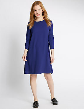 PETITE Woven Long Sleeve Swing Dress , RICH BLUE, catlanding