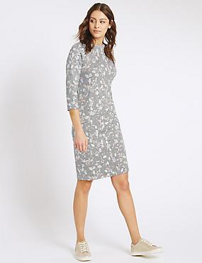 Printed 3/4 Sleeve Tunic Dress, GREY MIX, catlanding